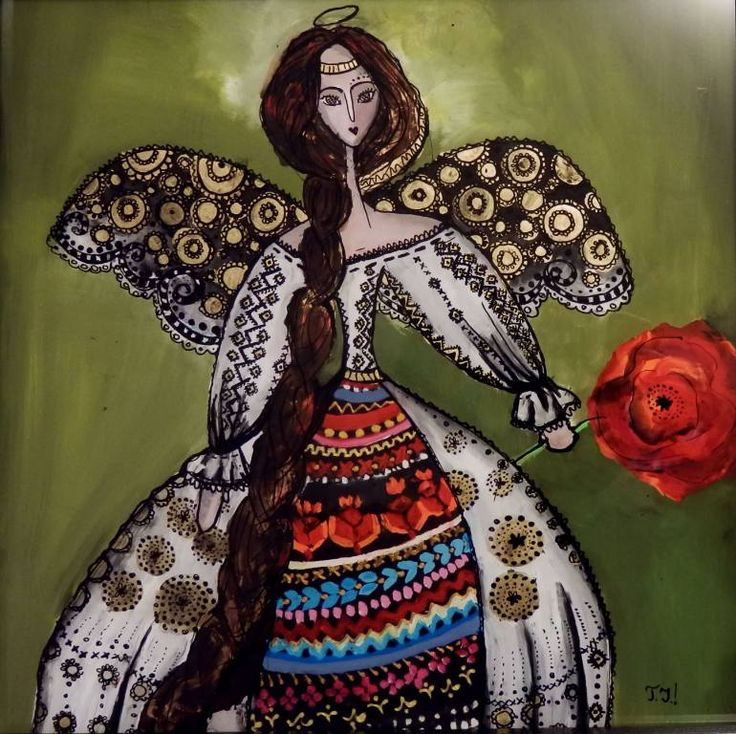 Romanian angel (SOLD), a Oil on  by Teli Iacsa from Switzerland. It portrays: Fantasy, relevant to: poppy, popular, christmas, angel, folklore oil and ink on glass, she is a Romanian Christmas Angel.