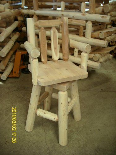 White Cedar Log Bar Stool with Arms by Amish Made in the USA. $239.00. Proudly made in the USA! Finely crafted by the Western Pennsylvania Amish. White Cedar - Naturally resistant to decay, insect and weather damage.  Rust-resistant steel hardware.. Sturdy cedar log construction with solid mortise and tenon joints. With swivel seat motion and generous arm rests, this White Cedar Log Bar Stool with Arms provides comfort and easy access!. A wonderfull bar stool for inside th...