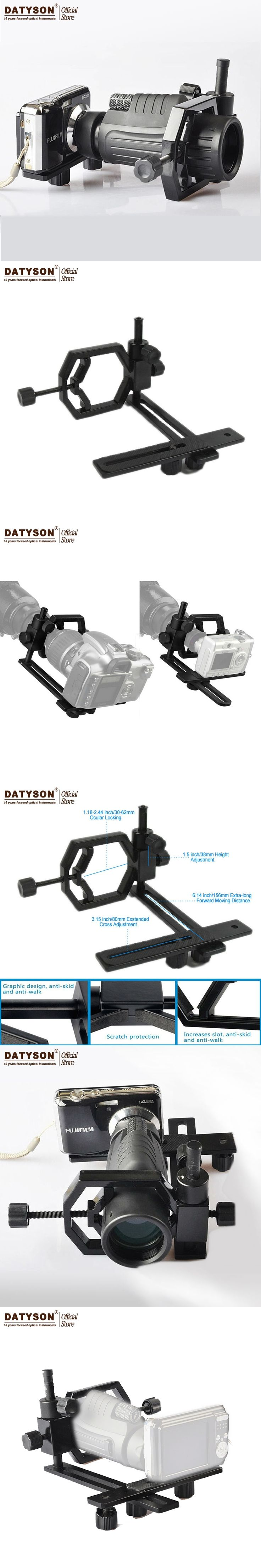 Datyson Fully Metal Telescope Camera Mount Adapter for Telescope Microscope Binocular Spotting Scope Monocular Point-and-shoot