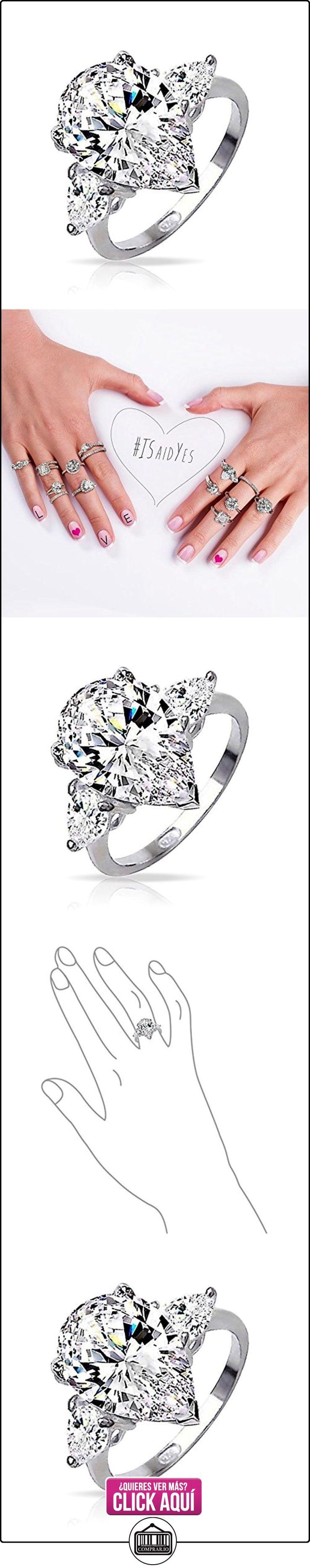 Bling Jewelry Plata Esterlina 3 Piedra Clásica forma de Pera CZ Anillo de Compromiso  ✿ Joyas para mujer - Las mejores ofertas ✿ ▬► Ver oferta: https://comprar.io/goto/B004AWJW6M