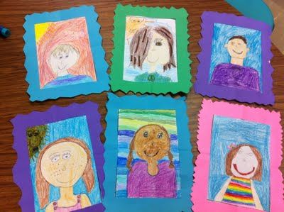Cute idea for beginning of school year- self portraits and frames  (really great blog!)