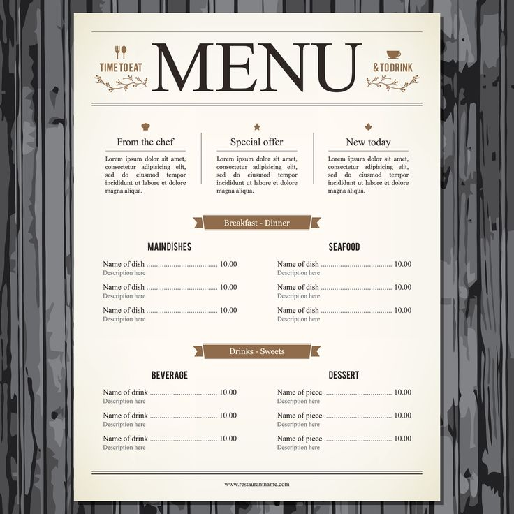 corporate - the restaurant menu provides an effective use of dingbats to different separate sections