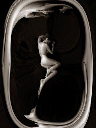 Female Nude Sleeping on Black Background in Oval Frame Reprodukcja zdjęcia