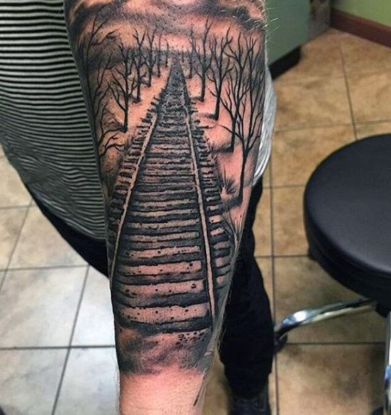 Empty Train Tracks Tattoo For Men On Forearm