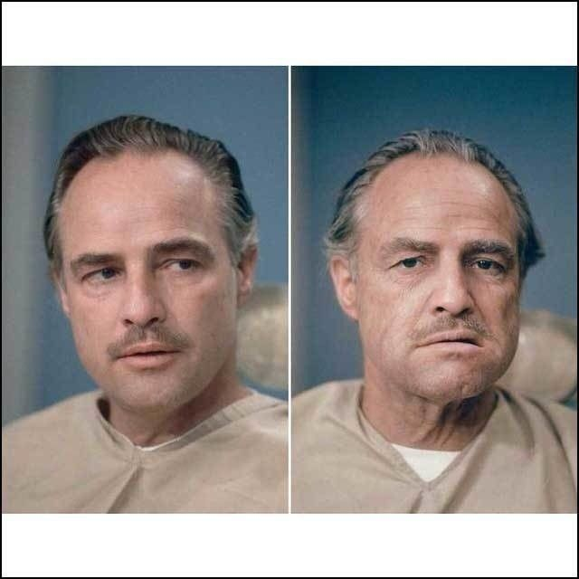 Marlon Brando, before and after getting his Don Vito Corleone makeup done for The Godfather.