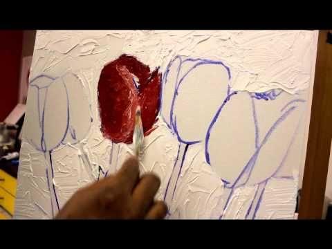 Cómo pintar Tulipanes con un cuchillo de paleta