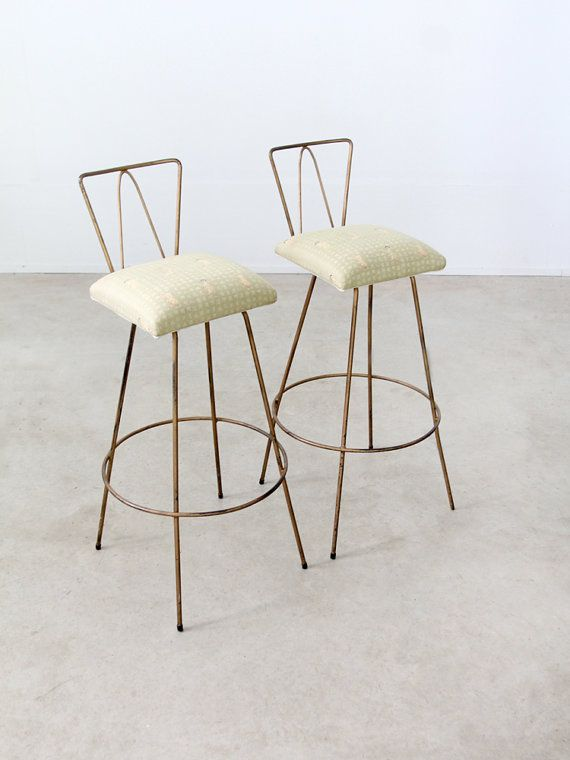 mid century stools / pair of 60s bar stools by 86home on Etsy, $500.00