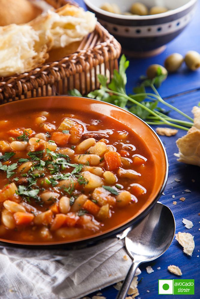 Fasolada - Greek Bean Soup: Ingredients : 1 cup of beans (any ) 1 carrot 3 tomatoes 3 celery arrow 2 tbsp tomato paste 3 tbsp olive oil 1 tbsp sugar Salt and freshly ground black pepper to taste Greenery : parsley, celery leaves - after beans half cooked, add vegetables and cook 20 minutes more