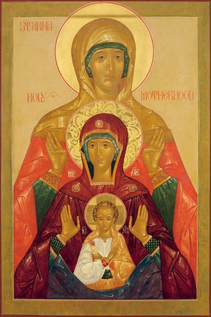 BEAUTIFUL! Icon of St Anna, The Theotokos, and Christ Child