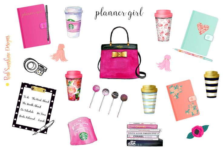 PLANNING TIME Clipart Stickers Planner Stationery by PinkSunshineSupplies on Etsy