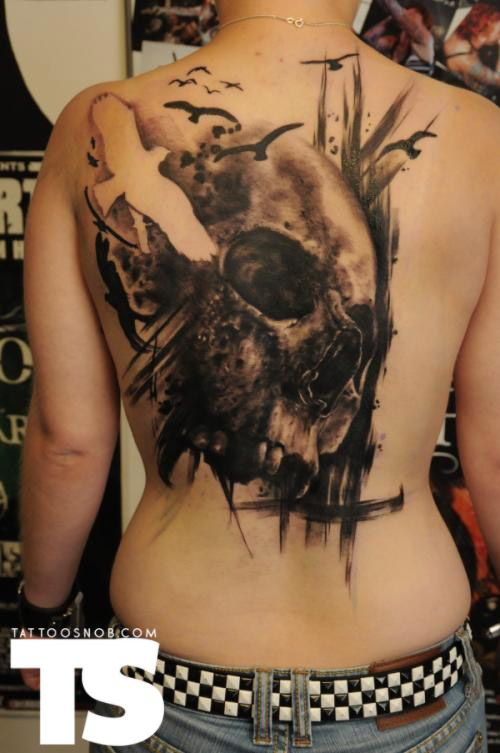 Tattoo by Florian Karg -- I love the use of negative space