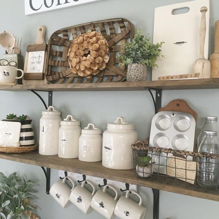 Rustic Antique Kitchen Idea Kitchen Shelf Decor Kitchen Wall