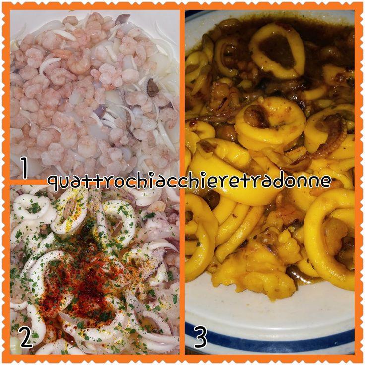 Quattro Chiacchiere Tra Donne: Calamari e gamberetti allo zafferano