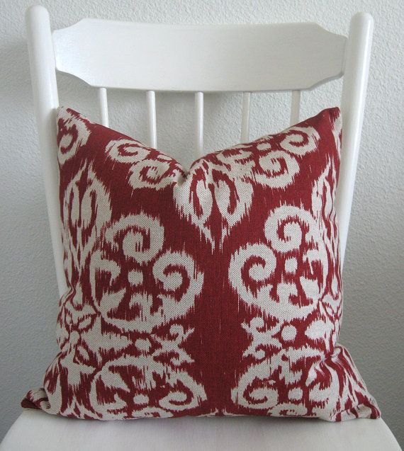 Red Brown Beige Throw Pillows : Decorative pillow cover - Throw pillow - Ikat pillow - 18x18 - Beige - Red - ikat Throw ...