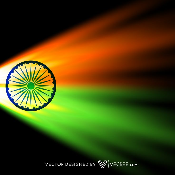 Colorful Indian Flag In Dark Background Free Vector
