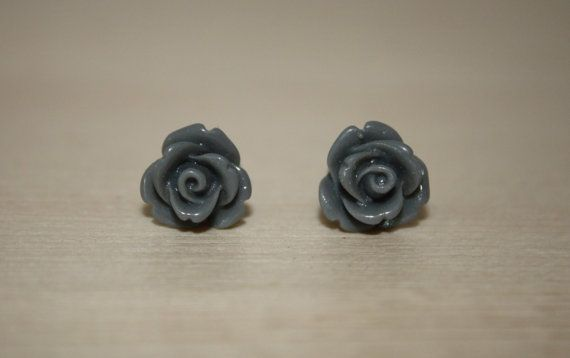 Sophisticated 10mm Grey Rose Earrings W/ by ForTheLoveOfColour