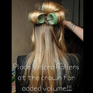 While you're getting ready to go out, use just two or three velcro rollers at the crown of your head. | 17 Genius Ways To Make Thin Hair Look Seriously Thick