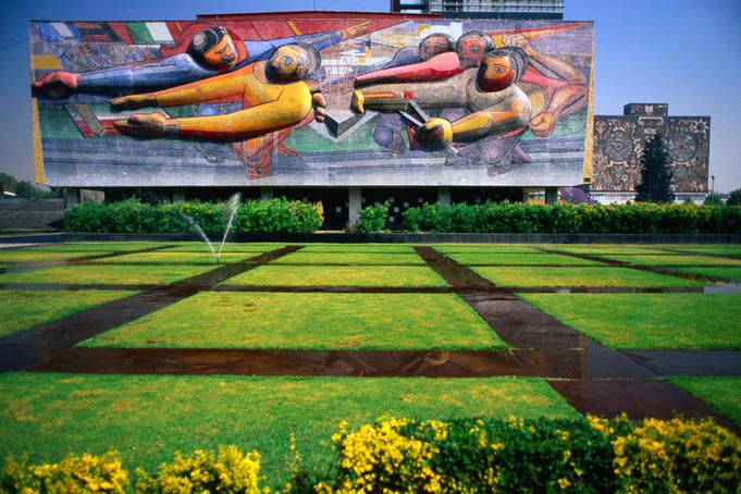 3D mosaic by Siqueiros sitting above a lawn at Universidad Nacional Autonoma de Mexico (UNAM), the largest university in Latin America.