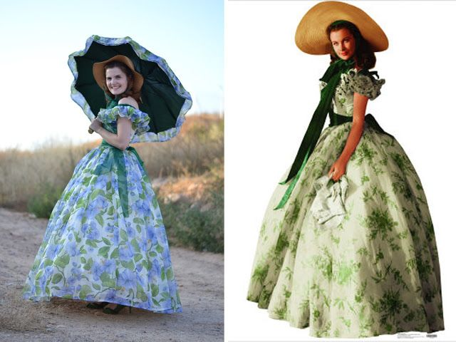 That's the last dress I made: the famous barbecue dress worn by Scarlett O'Hara in Gone with the wind. I made it for a special occasion (I don't wear that…