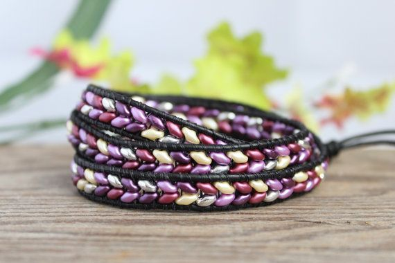 Super Duo Triple Leather Wrap Bracelet, Bohemian jewelry, Purple Mix, black leather