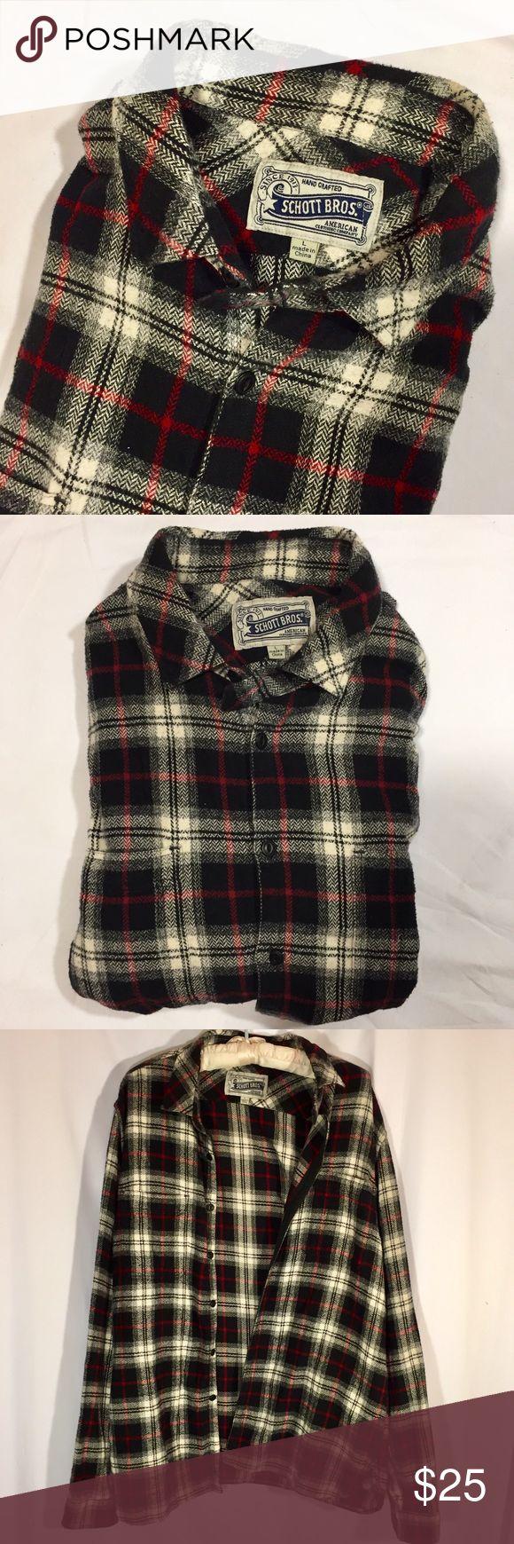 Shirt design near me - Schott Brothers Flannel Red Black Plaid Shirt