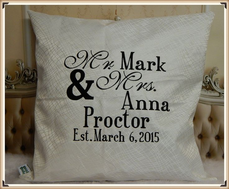 Wedding pillow case covers from $45.00 https://www.facebook.com/BushBubsclothingandEmbroidery