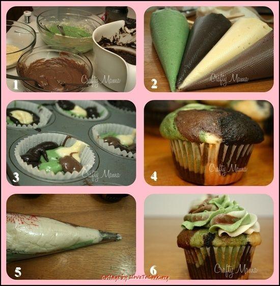 (Leuke jongens tractatie: Camouflage Cupcakes - leuk met plastic insect)