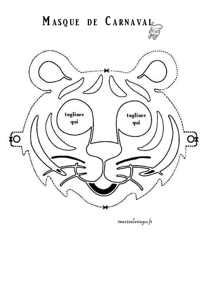 Masque tigre coloriage pour les enfants pinterest - Masque de carnaval a imprimer ...