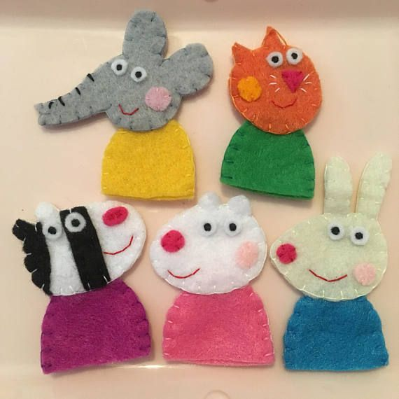 Peppa Pig Finger Puppets Set Emily Elephant Candy Cat Zoe