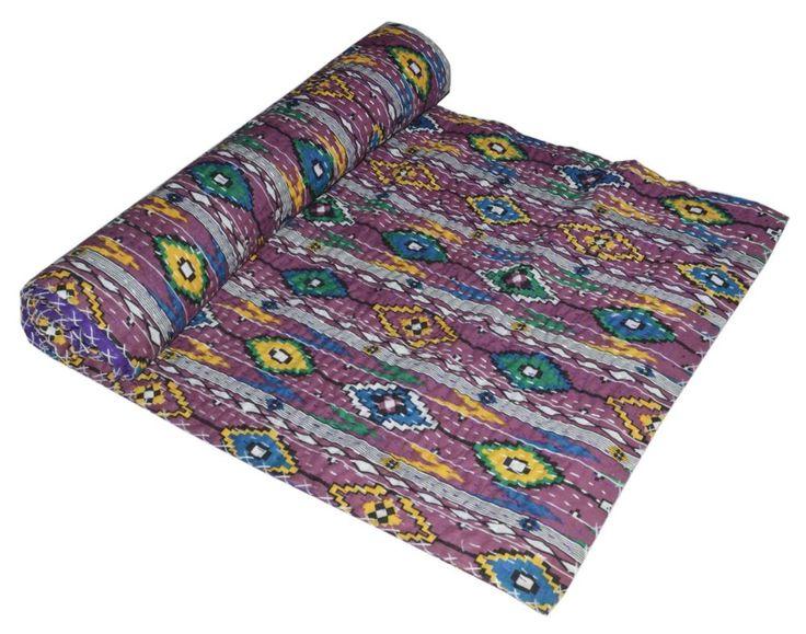 Handmade Quilt Vintage Kantha Indian Bedspread Throw Cotton Blanket Ralli Gudari #Handmade #Asian