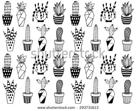 Black and white cartoon cactus pattern. Hand drawn succulent ornament.                                                                                                                                                                                 Plus