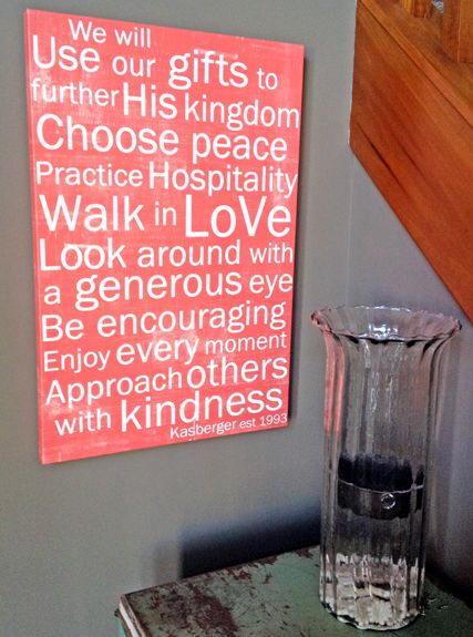 Love it! Family purpose statement on large canvas, by Red Letter Words.