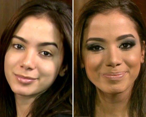 Anitta mostra o antes e depois da produção. Acompanhe!! → #redeglobo #gshow #moda #beleza #rosto #make #Anitta