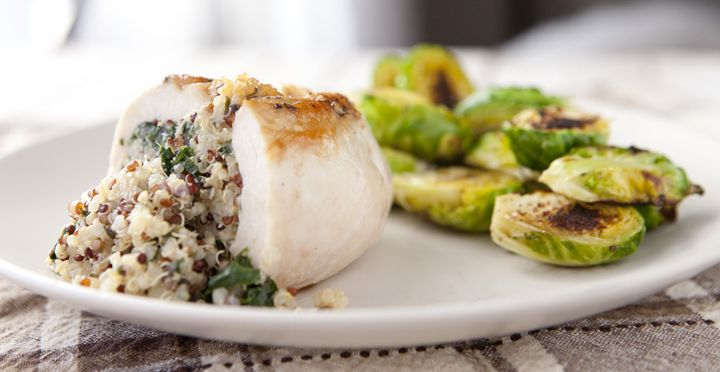 Quinoa, Spinach, & Feta Stuffed Chicken-- made this tonight, another ...