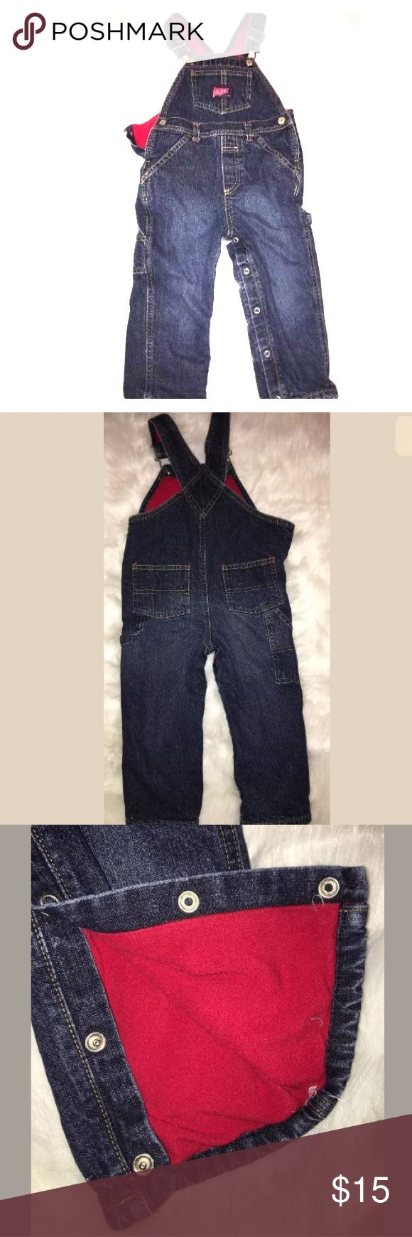 "Fleece Lined Denim Overalls 2T Toddler Old Navy Fleece Lined Denim Overalls Size 2T Toddler Boys Old Navy Baby Snap Up Jeans Red Fleece lining. Front pockets. Measures approx 11"" inseam, 8"" rise. Used but good condition. Old Navy Bottoms Overalls"