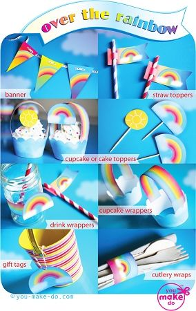 Rainbow party printables! Make a rainbow party banner, rainbow party cupcake wrappers, sunshine and rainbow cupcake toppers,
