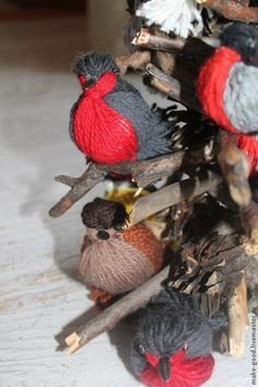 Мастерим с детьми ароматных птичек из пряжи для интерьера - Ярмарка Мастеров - ручная работа, handmade