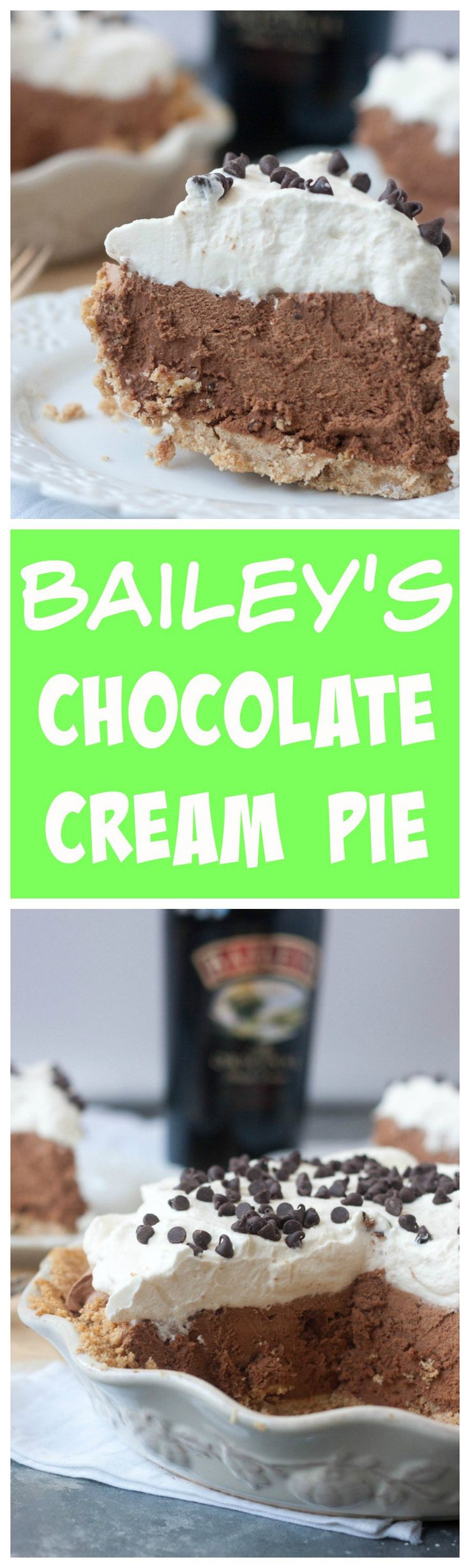 Bailey's Chocolate Cream Pie - a chocolate cream pie kicked up a notch by the addition of Bailey's Irish cream! Only 6 ingredients for this filling! Pin now for later! From Boston Girl Bakes