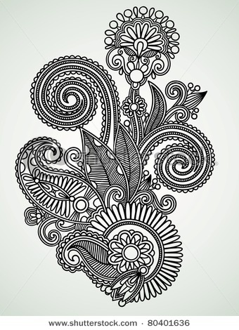 Hand drawn line art ornate flower design, Ukrainian traditional style. so pretty- tattoo inspiration??