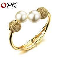 OPK de la Mujer Chapado En Oro Brazaletes de Puño con Perfectamente Redonda perla Simulada Nuevo Joyería de Moda Clásica Accesorios KH495