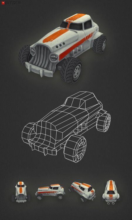Low Poly Car 05 Almost forgot, I finished car No. 5 a little while ago. This one is a hot-rod. Enough cars for now.