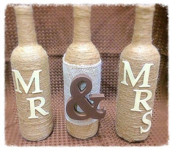 Mr & Mrs Twine Wrapped Wine Bottle Set by ColoradoRusticCabin