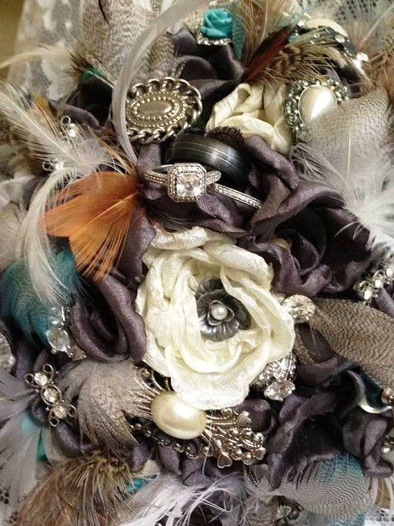 Vintage fabric brooch bridal bouquet by LeeJamesVintagePetal, $275.00
