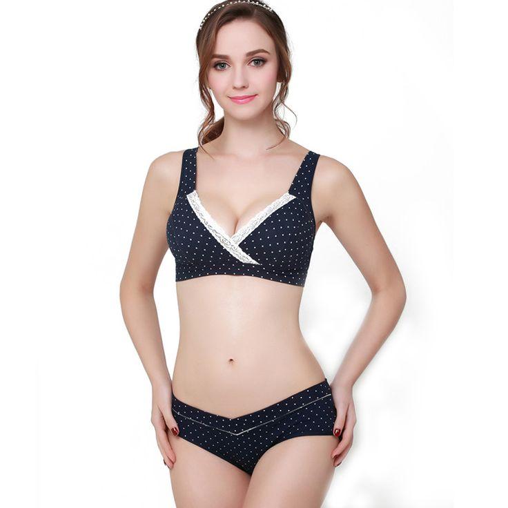 Maternity Bra & Brief Sets Nursing Bra100%Cotton Pregnant Women Breastfeeding bra Lace Underwear Set #Affiliate