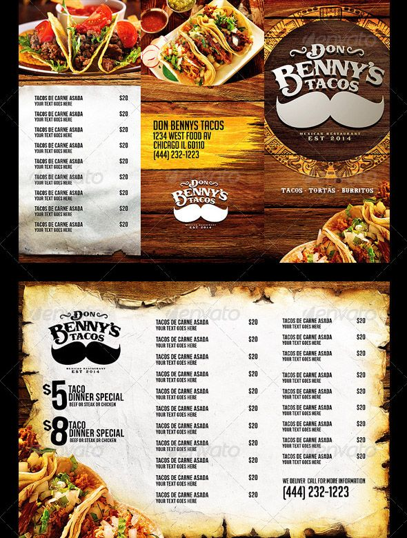 trifold mexican menu template front page menu research pinterest