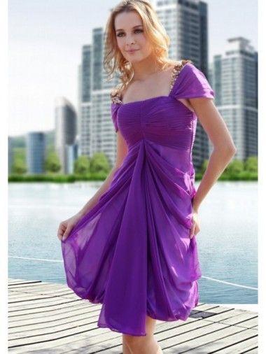 Cap Sleeveless Sweetheart Tiered Chiffon Knee Length Purple Sweet Sixteen Dresses