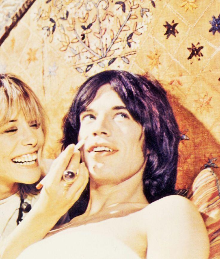 Anita Pallenberg and Mick Jagger in 'Performance', filmed 1968.