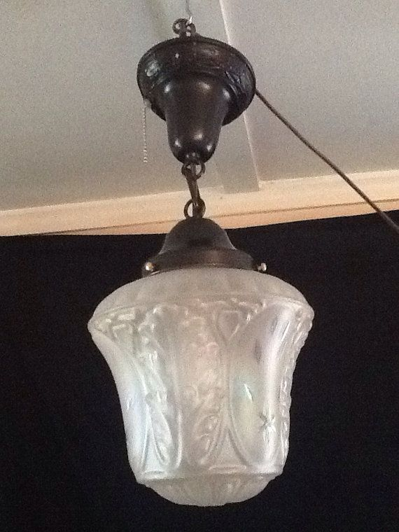 Vintage Pendant Light Iridescent Etched Pearlescent Gl By Antiquelights 99 00 Old Lights Pinterest Lighting Antique And