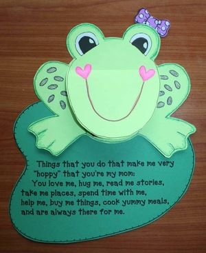 "Writing activities: Spring writing. Cute flip up frog for Mother's Day. Children complete the prompt on the lily pad.  The frog's mouth flips up to reveal a pink tongue that says: ""Hoppy"" Mother's Day. Cute!"