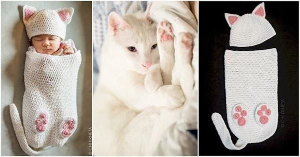 Crocheted Cat Cocoons For Your Newborn Human Are A Thing Now - TheBestCatPage